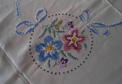 """Vintage Supper Tablecloth Pink Hand Embroidered Flowers Blue Ribbons Bows 54"""""""
