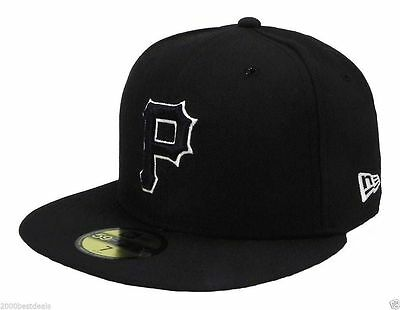 abcd05497b New Era 59Fifty Baseball Cap Pittsburgh Pirates Black White Outline Fitted  Hat