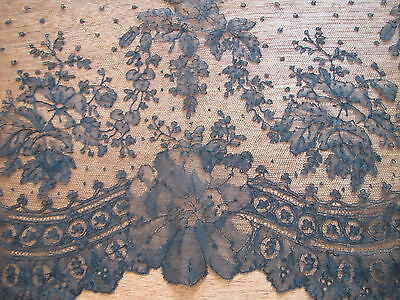 """Antique LACE Black TRIM Edging Net French Chantilly 11"""" deep Scallop FLOWERS"""