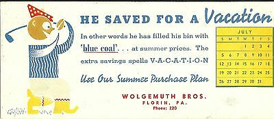 1930s WOLGEMUTH BROS BLUE COAL CO FLORIN PA INK BLOTTER