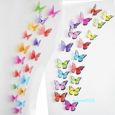 3D 18pcs Crystal Hollow Butterfly Art Decal Waterproof Home Decor Wall Stickers