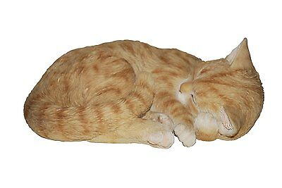 Brand New Sleeping Ginger Cat Garden Ornament