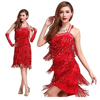 AU Lady Latin Party Tassel Sequins Fringe Flapper Dress Belly Dance Costumes