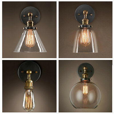 Vintage Industrial Retro Glass Shade Wall Lamp Wall Fixture Lighting Wall Sconce