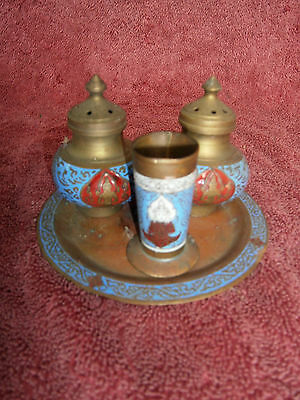 Vintage  Blue & Red Brass  Cruit Set  - Salt &Pepper Shakers With Mustard Pot