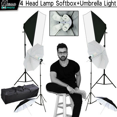 Photo Studio Softbox Continuous Lighting Backdrop Background Light Stand Kit New