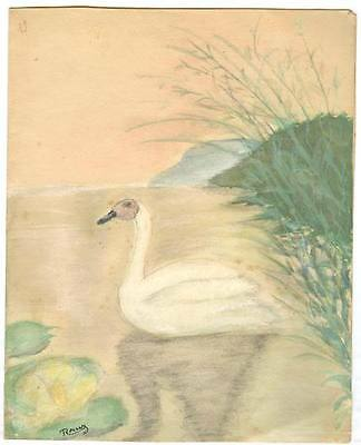 """THE SWAN"" PRUDHOMME FABLE ILLUSRATION WATER COLOR  by RAFAEL PEREZ"