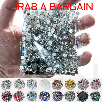 1000 x Flat Back Rhinestones 2mm to 5mm Resin None Hotfix - All Sizes 99p