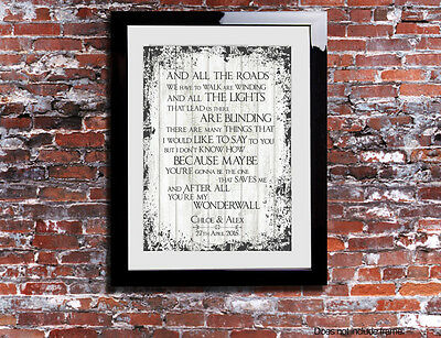 Oasis Wonderwall Lyrics Print Anniversary Song Personalised Canvas Gift Chic