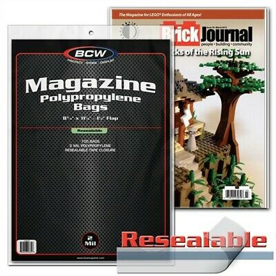 Pack of 100 BCW RESEALABLE Magazine Poly Bags 8 3/4 X 11 - Acid Free Archival