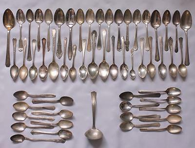 Lot 56pcs Spoons Flatware Antique Silverplate Mixed Rogers Hollywood Winfield