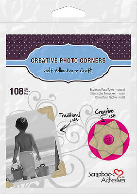 3L 01630 CREATIVE PHOTO CORNERS KRAFT, SELF ADHESIVE 108 ea.