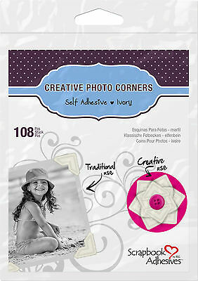 3L 01629 CREATIVE PHOTO CORNERS IVORY, SELF ADHESIVE 108 ea.