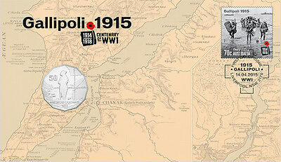 2015 WW1 Gallipoli 1915 The Landing Limited Edition Philatelic & Coin (PNC)