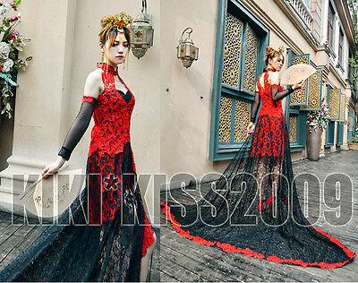 Gothic Black&Red Vintage Lace Qipao Cheongsam Evening Flower Dress Cosplay
