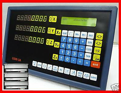 TDS-3i LCD Digital Readout 3axis Mill Milling Drill DRO 3 Glass Scale - (USA)