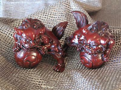 Feng Shui Chinese Foo / Fu Dogs Lions… cast red lacquered with lots of detail...
