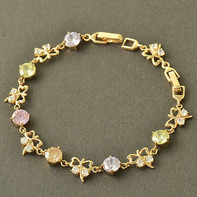 HOT 9K Solid Gold Filled Multi Colour Crystal WOMENS Butterfly Bracelet,Z3793