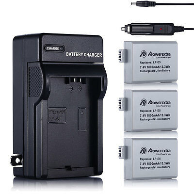 3x LP-E5 Battery + Charger For Canon Rebel XS XS1 T1i EOS 500D 450D 1000D X2 X3