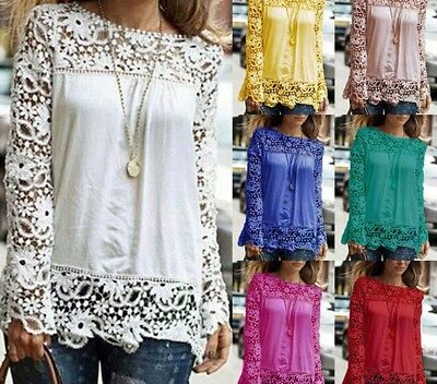 New Fashion Women Sheer Sleeve Embroidery Top Blouse Lace Crochet Chiffon Shirt