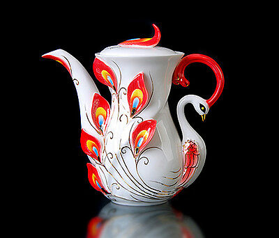 Ceramic Porcelain Red Peacock Coffee Milk Tea Pot Christmas Wedding Gift Use