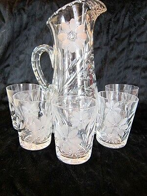 T.B. Clark  crystal 64 oz cut glass water pitcher and glasses