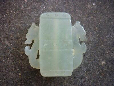 Chinese jade carving ssangyong column pendant worth collectingA69