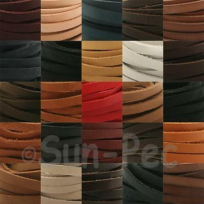 1m Real Genuine Leather Flat Hide Leather Lace Thong Cord 3mm 4mm 5mm jewellery