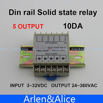 10DA 5 Channel Din rail SSR input 3~32VDC output 24~380VAC DC solid state relay