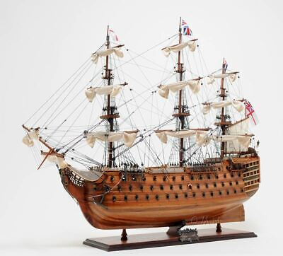"""HMS Victory Admiral Nelson Flagship Tall Ship 37"""" Built Wood Model Assembled"""