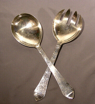 Old Pair of Georg Jensen Sterling Servers Fork & Spoon Antik Continental Pattern