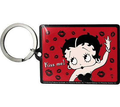 Retro Metal Keyring 'BETTY BOOP - KISS ME' with Rear Printing 'and Friends'
