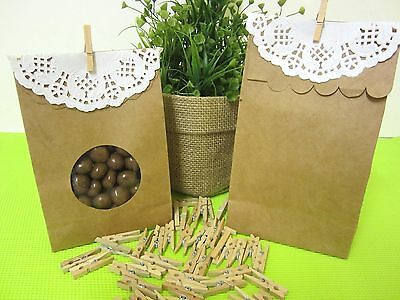 50 x Mini Wooden Small Pegs Brown Kraft Craft Peg Wood Natural 25mm FREE POSTAGE