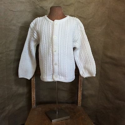 HANNA ANDERSSON White Cotton CABLE CARDIGAN Sweater 2-3 CLASSIC BOY GIRL 90