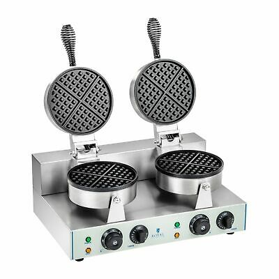 Double Round Waffle Baker Grill Machine Maker Commercial 2600 W 300° C 8 Waffles