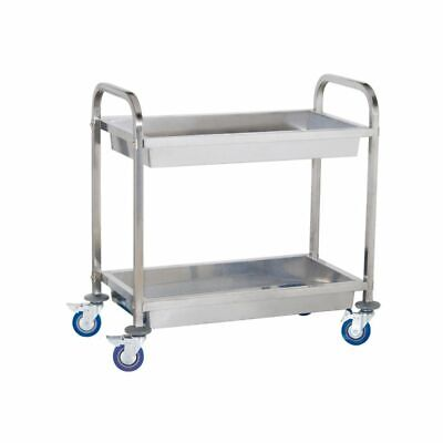 2 Container Stainless Steel Catering Serving Trolley Cart Large Capacity 320 Kg