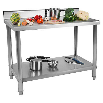 KITCHEN STAINLESS STEEL CENTRE WORK BENCH TABLE 2 SHELVES UPSTAND 100 x 70 CM