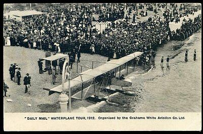 1912 Daily Mail Waterplane Tour Grahame White Postcard Unused