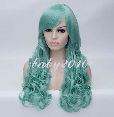 New 70cm Light Green Curly Lolita Anime Cosplay Costume Wig