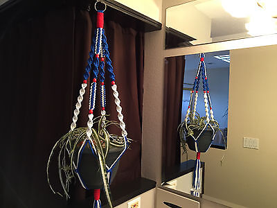 Patriotic American Flag White Blue Red Macrame Plant Hanger 8 Red Wooden Beads