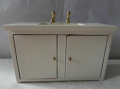 Dolls House kitchen sink white painted wood D28