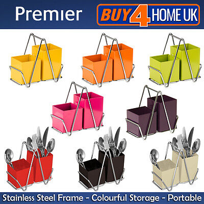 Premier Cutlery Caddy - Home & Kitchen 2 Compartments Stainless Steel Storage