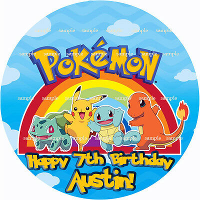 POKEMON Round Edible ICING Image Birthday CAKE Topper Decoration Personalized