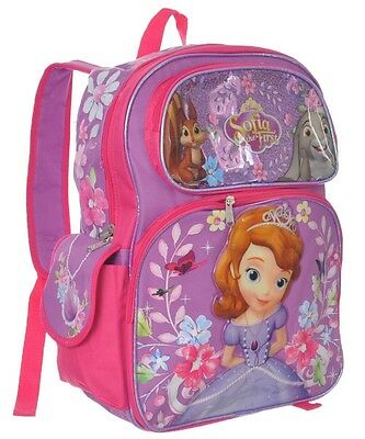 "New Disney Sofia the First Girls 16"" Kids Backpack and Girls Large School Bag"
