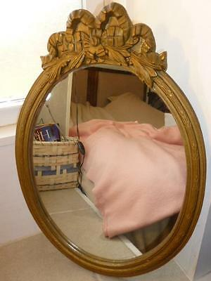 Vintage Ornate Gesso Gold Large Bow Topped Oval Wall Mirror