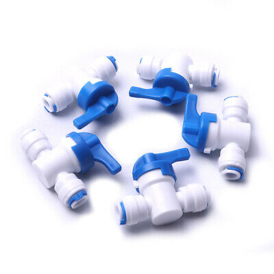 """5x OD Tube 1/4"""" 6mm Ball Valve Quick Connect Shut off Switch for Water Purifier"""