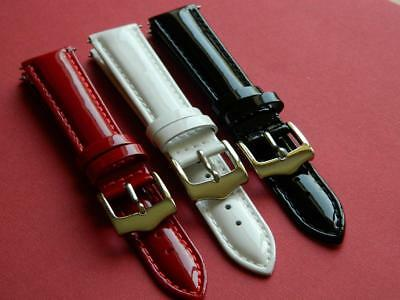 Watch Strap Ladies Genuine Calf Leather Varnished Stylish Smooth Padded