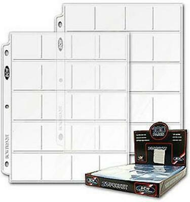 300 BCW Pro 20 Pocket Coin Album Pages -Binder Sheets for 2x2 Paper Coin Flips
