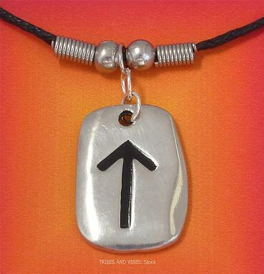 TEIWAZ TYR Rune Pendant Necklace for Strength 2sides Pagan TIWAZ futhark NEW
