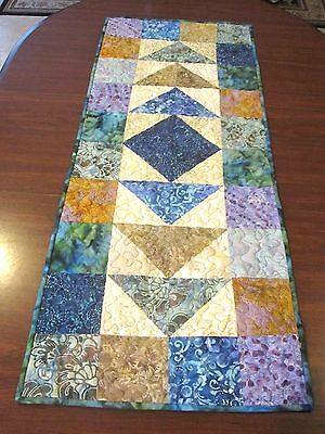 """Hand Made Quilted Table Runner/ Topper /Mat ~Multi Color Batiks  ~16"""" x 40"""""""